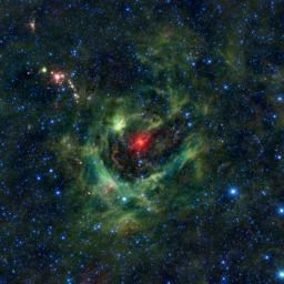 This image from NASA's Wide-field Infrared Survey Explorer, or WISE, features a region of star birth wrapped in a blanket of dust, colored green in this infrared view.
