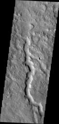 This unnamed channel is located in the northern part of Terra Cimmeria. This image was captured by NASA's Mars Odyssey.