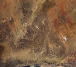 Acquired by the Multi-angle Imaging SpectroRadiometer instrument aboard NASA's Terra spacecraft, this image is from the MISR Where on Earth...? Mystery Quiz #27. The location is Jordan.