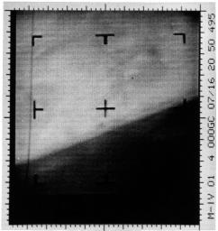 This is an enhanced contrast version of the first Mars photograph released on July 15, 1965. This is man's first close-up photograph of another planet, a photographic representation of digital data radioed from Mars by the Mariner 4 spacecraft.
