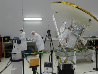 NASA's Aquarius instrument power interfaces are tested prior to connection with the SAC-D service platform at the INVAP facility in Bariloche, Argentina.