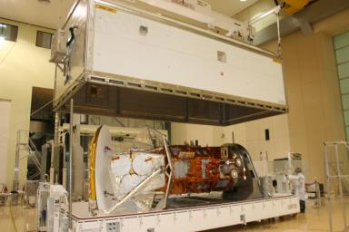 After months of environmental tests at Brazil's National Institute for Space Research (Instituto Nacional de Pesquisas Espaciais, INPE), NASA's Aquarius/SAC-D observatory is loaded into a crate for shipment to Vandenberg Air Force Base.