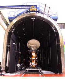 NASA's Aquarius/SAC-D observatory is moved into the thermal-vacuum chamber at Brazil's National Institute for Space Research.