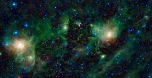 This image from NASA's Wide-field Infrared Survey Explorer, shows three different nebulae located in the constellation of Perseus. NGC 1491 is seen on the right side of the image, SH 2-209 is on the left side and BFS 34 lies in between.
