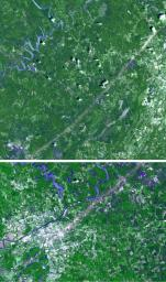 From April 25-28, 2011, one of the largest outbreaks of tornadoes ever recorded ripped across the Southern, Midwestern and Eastern United States. NASA's Terra spacecraft shows the scar the tornado left across Birmingham, Alabama.