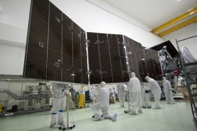 Technicians stow for launch solar array #2 for NASA's Juno spacecraft. The photo was taken on May 20, 2011 at the Astrotech payload processing facility in Titusville, Fla.