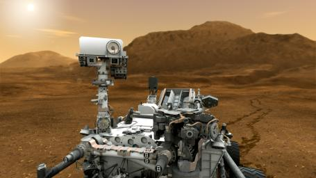 This artist concept features NASA's Mars Science Laboratory Curiosity rover. The mast, or rover's 'head,' rises to about 2.1 meters (6.9 feet) above ground level, about as tall as a basketball player.