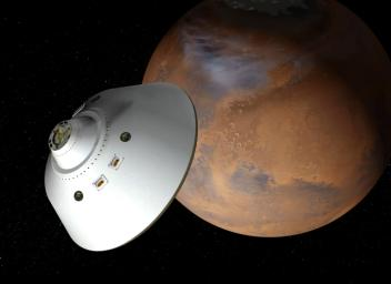 This artist's concept of a proposed Mars sample return mission portrays an aeroshell-encased spacecraft approaching Mars. This spacecraft would put a sample-retrieving rover and an ascent vehicle onto the surface of Mars.