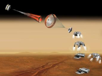 This artist's concept of a proposed NASA and European Space Agency collaboration on proposals for a Mars sample return mission portrays a series of six steps in the spacecraft's landing on Mars.
