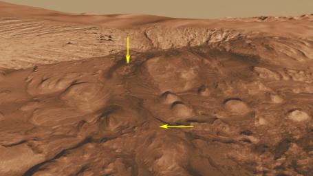This oblique view of the mound in Gale crater shows several different rock types of interest to the Mars Science Laboratory mission. The Mars Science Laboratory rover, Curiosity, will use its full instrument suite to study these minerals and how they form