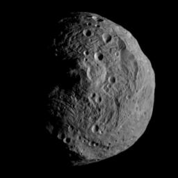 This is the first image obtained by NASA's Dawn spacecraft after successfully entering orbit around Vesta.