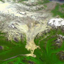 This image acquired by NASA's Terra spacecraft is of the Valley of Ten Thousand Smokes. Located in Katmai National Park, Alaska, the park is filled with ash flows from the 1912 eruption of Novarupta.