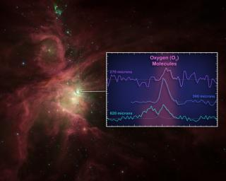 This graphic illustrates where astronomers at last found oxygen molecules in space -- near the star-forming core of the Orion nebula. The squiggly lines, or spectra, reveal the signatures of oxygen molecules, detected by ESA's Hershel Space Observatory.