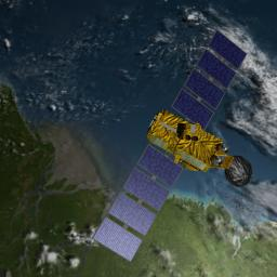Artist's concept of U.S.-European Jason-3 Ocean Altimetry Satellite over the Amazon