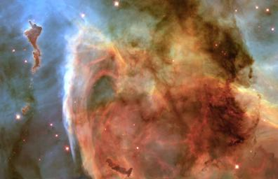 The Keyhole Nebula, part of a larger region called the Carina Nebula (NGC 3372), about 8,000 light-years from Earth as seen by NASA's Hubble Telescope.