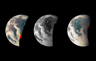 This trio of NASA's Junocam views of Earth was taken during Juno's close flyby on October 9, 2013.