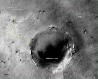The yellow line on this map shows where NASA's Mars Rover Opportunity has driven from the place where it landed in January 2004, inside Eagle crater, at the upper left end of the track, to a point approaching the rim of Endeavour crater.
