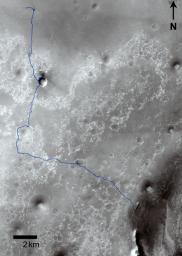 This map shows route driven by NASA's Mars Exploration Rover Opportunity from the site of its landing, inside Eagle crater at the upper left, to its location more than 91 months later, on the Cape York section of the rim of Endeavour crater.