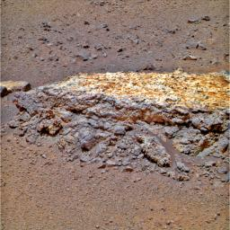 This rock, informally named 'Tisdale 2,' was the first rock NASA's Mars Rover Opportunity examined in detail on the rim of Endeavour crater. It has textures and composition unlike any rock the rover examined during its first 90 months on Mars.