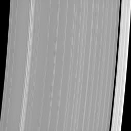 The propeller-shaped white dashes near the bottom of NASA's Cassini spacecraft image reveal the location of a small moonlet embedded in Saturn's A ring.