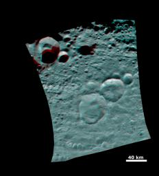 This 3D image shows the topography of Vesta's three craters, informally named the