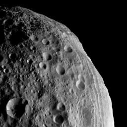 NASA's Dawn spacecraft obtained this image of asteroid Vesta with its framing camera on August 11, 2011. The image has a resolution of about 260 meters per pixel.