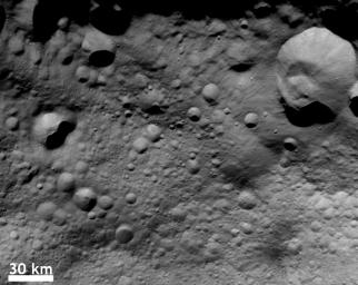 NASA's Dawn spacecraft obtained this image with its framing camera on Aug. 23, 2011. This image was taken through the camera's clear filter. The image has a resolution of about 260 meters per pixel.