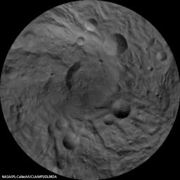 This image mosaic of Vesta's south pole is generated from dozens of individual images from the framing camera aboard NASA's Dawn spacecraft. This view is centered on the asteroid's south pole, which is surrounded by several large impact craters.