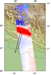 This false-color map from NASA's ARIA project shows the amount of permanent surface movement caused almost entirely by the magnitude 7.8 Gorkha earthquake in Nepal.