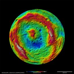 The terrain model of Vesta's southern hemisphere shows a big circular structure, its rim rising above the interior of the structure. This false-color map of the giant asteroid Vesta is from the framing camera aboard NASA's Dawn spacecraft.