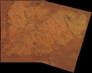 The view of 'Chester Lake' from NASA's Mars rover Opportunity is presented in approximate true color. This 'natural color' is the rover team's best estimate of what the scene would look like if humans were there and able to see it with their own eyes.