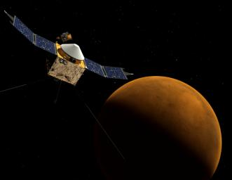 This artist's concept depicts NASA's Mars Atmosphere and Volatile EvolutioN (MAVEN) spacecraft near Mars. MAVEN is in development for launch in 2013 and will be the first mission devoted to understanding the Martian upper atmosphere.