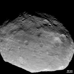 This full-frame view of asteroid Vesta was obtained by NASA's Dawn spacecraft with its framing camera on July, 24 2011. This image was taken through the camera's clear filter. The image has a resolution of about 485 meters per pixel.