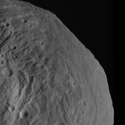 NASA's Dawn spacecraft obtained this image of asteroid Vesta with its framing camera on Aug. 26, 2011 at a distance of 1,700 miles (2,740 kilometers). The image has a resolution of about 260 meters per pixel.