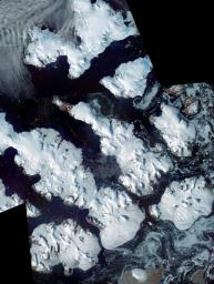 This image from NASA's Terra spacecraft is of Franz Josef Land, an archipelago in the far north of Russia. It consists of 191 islands covering an area of about 200 by 325 km, and has no native inhabitants.