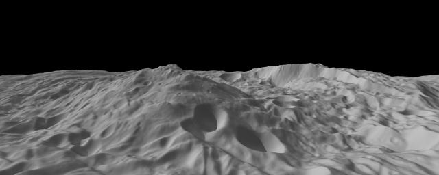 This image of asteroid Vesta, from NASA's Dawn spacecraft, calculated from a shape model, shows a tilted view of the topography of the south polar region. This perspective removes the overall curvature of Vesta, as if the giant asteroid were flat and not