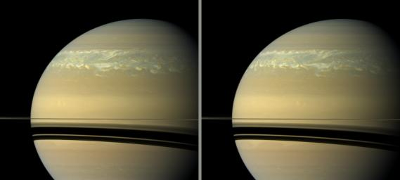 These two natural color views taken 11 hours -- one Saturn day -- apart by NASA's Cassini spacecraft help scientists measure wind speeds in the huge storm seen here in the planet's northern hemisphere.