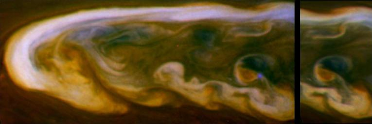 These false-color mosaics from NASA's Cassini spacecraft capture lightning striking within the huge storm that encircled Saturn's northern hemisphere for much of 2011.