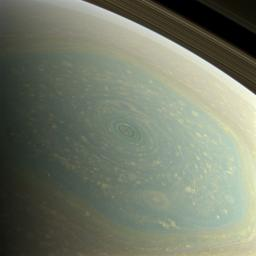 The north pole of Saturn, in the fresh light of spring, is revealed in this color image from NASA's Cassini spacecraft. The north pole was previously hidden from the gaze of Cassini.