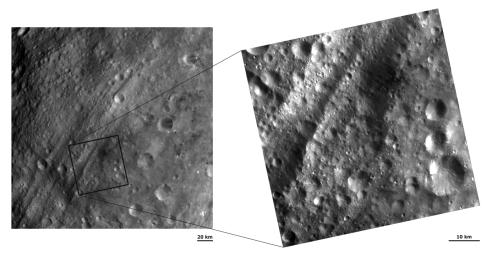 These images from NASA's Dawn spacecraft shows a region around the asteroid Vesta's equatorial troughs with two different resolutions. More details are visible in the right-hand image such as small linear grooves running roughly parallel to the troughs.