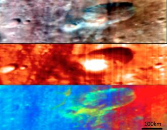 NASA's Dawn spacecraft used its Visible and Infrared Imaging Spectrometer instrument to produce these three different composite images of the same region of asteroid Vesta's surface.