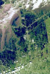 On Oct. 25, 2011, the Chao Phraya River was in flood stage as NASA's Terra spacecraft imaged flooded agricultural fields and villages depicted here in dark blue, and the sediment-laden water in shades of tan.