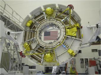 The cruise stage of NASA's Mars Science Laboratory spacecraft is being prepared for final stacking of the spacecraft in this photograph from inside the Payload Hazardous Servicing Facility at NASA Kennedy Space Center, Fla.