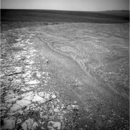 NASA's Mars Exploration Rover Opportunity recorded this view of the western edge of 'Cape York,' a segment of the rim of Endeavour Crater. A bright vein, informally named 'Homestake,' is visible on the right side of the image.