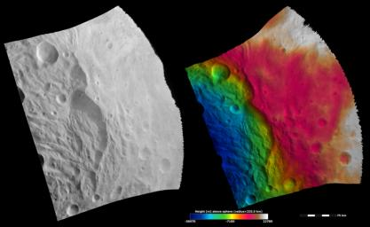 These images from NASA's Dawn spacecraft show part of the rim of asteroid Vesta's south polar basin, which is dominated by a large scarp (cliff) that runs vertically across the center of the images.