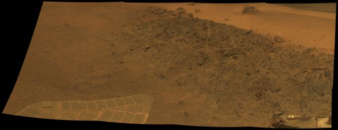 This mosaic shows a north-facing outcrop, informally named 'Greeley Haven.' The site is near the northern tip of the