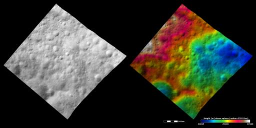 These images from NASA's Dawn spacecraft show an old, heavily cratered terrain around asteroid Vesta's equator.