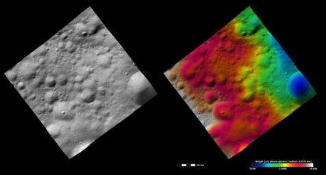 These images from NASA's Dawn spacecraft show many craters, which have different states of preservation, in Vesta's Bellicia quadrangle in the northern hemisphere.