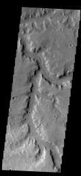 This image from NASA's 2001 Mars Odyssey spacecraft shows a portion of Naktong Vallis in Terra Sabaea.