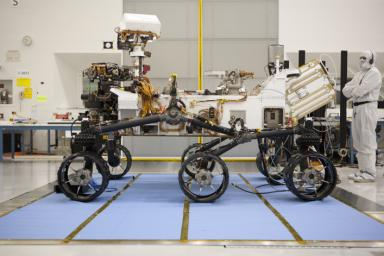 About the size of a small SUV, NASA's Curiosity rover is well equipped for a tour of Gale Crater on Mars. This impressive rover has six-wheel drive and the ability to turn in place a full 360 degrees, as well as the agility to climb steep hills.